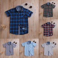 Baby Boys short Sleeve Plaid T Shirt children Classic lattic...