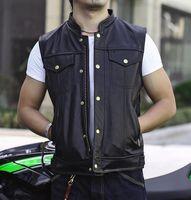 رجل حقيقي حقيقي جلد صدرية للدراجات النارية السائق سترة سستة واحدة اعتلى أكمام السائق نادي سترة جلدية اليدوية
