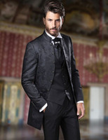 İtalyan Siyah Damat Özel 3 Piece Çiçek Suit Erkekler Smokin Suit için Erkekler Jakarlı Slim Fit Blazer İçin Yaka Düğün Suits Standı 2019