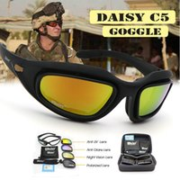 Jogo de Guerra Tempestade no Deserto Daisy C5 polarizados Exército Óculos militares dos óculos de sol 4 Lens Kit de Homens Tactical Óculos Sporting Y200619