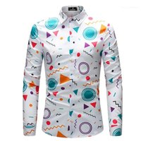Long Sleeve Casual Shirt Irregular Pattern Print Single Brea...