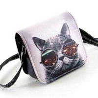 Bolsos Carteras Mujer Marca Women Pu Leather Cat Wearing Gla...