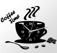 3D DIY Acrylic Wall Clock Modern Kitchen Home Decor Coffee Time Clock Cup Shape Wall Sticker Hollow Numeral Clock