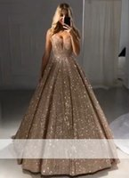 2019 Sexy Sparkly Shiny Gold Ball Gown Prom Dresses V- Neck S...