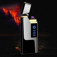 전기 아크 USB 라이터 울트라 얇은 9mm 방풍 충전식 플라즈마 라이터 LED 디스플레이 전원과 담배 한 촛불