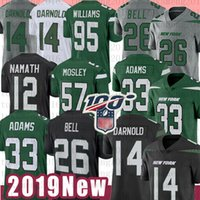 Maillot de football 33 Jamal Adams Jets 14 Sam Darnold 26 Le'Veon Bell New York 95 Quinnen Williams 57 C.J. Mosley 12 Joe Namath