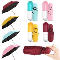 Mini guarda-chuva com cápsula caso guarda-chuva anti-uv Ultra leve cinco guarda-chuva de bolso dobrável compacta crianças à prova de vento guarda chuva sombrinha