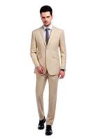 Custom Made Groomsmen Notch Lapel Groom Tuxedos Champagne Men Suits Wedding Prom Dinner Best Man Blazer ( Jacket+Pants+Tie ) A886