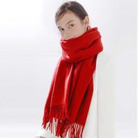 2019 Winter-Logomania SHINE Marke Luxus-Schal Frauen und Männer Zwei Seiten Schwarz Rot Silk Wolldecke Schal Modedesigner Blumen Schal