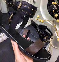 Passager Horizon Femmes de luxe de Silhouette Robe Sandales Triple Noir en cuir brun dames d'été plat Casual Mode Diapo Slipper