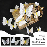 12st 3D-Schmetterlings-Wand-Aufkleber-Abziehbild-Dekor-Kunst Kühlschrankmagnet Dekoration Haus Hohe Qualität