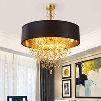 Kicthen Salon Yatak odası için Bırak Sarkıt Armatür Aydınlatma Asma Moden Yuvarlak LED Işık Kolye Siyah Abajur
