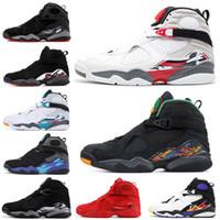 Erkekler Basketbol Ayakkabı 8 8 s Sevgililer günü Aqua Krom Geri Sayım Paketi GÜNEY BEACH PLAYOFF Mens Trainer Spor Sneaker 7-13