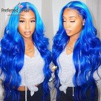 Larga 13x6 Frente de encaje Peluca de cabello humano Ombre Color azul onda Cuerpo Peluca Peluca Humana Pelucked con bebé