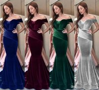 2019 New Velvet Prom Dresses Burgundy Royal Blue Off Shoulde...