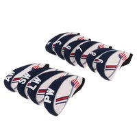 10 Pieces White & Blue USA Flag Neoprene Golf Club Iron Head...