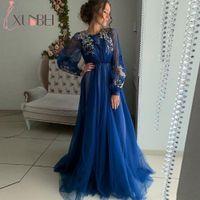 Robe де вечер Дубай Royal Blue Длинные рукава Prom Вечерние платья Длинные Abiye Золото аппликациями Soft Тюль Вечернее платье партии