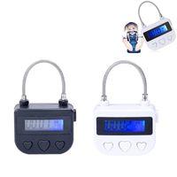 Interruttore ricaricabile Bianco / Nero USB lucchetto Bondage Time Lock, BDSM Bondage restrizioni manette Bocca Bavaglio Chastity giocattolo adulto del sesso