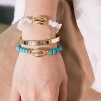 Donne braccialetti di modo 3pcs impostati pietra irregolare perline stand shell bracciali di metallo pendenti C-shape handwear gioielli braccialetti di fascino spiaggia