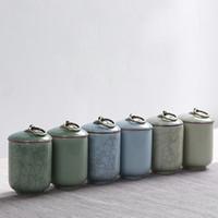 Estilo de craqueo Celadon Tea Caddy Para el almacenamiento de las especias Tarros de porcelana para el té Comida dulce Bote sellado Tetera para latas de cocina Tanque Caja de azúcar