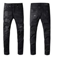 Moda Jeans para hombre Hombres Mujeres motorista de la motocicleta de los pantalones vaqueros para hombre apenada rasgada flaca delgada pantalones vaqueros negros
