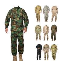 Spor Giyim Kamuflaj Çöl Üniforma Takım Elbise Camo Savaş Avcılık Üniformaları Taktik ACU Uzun Kollu Ceket + Uzun Pantolon