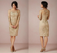 Sheath Gold Long Sleeves Mother of the Bride Dresses Illusion Neck Knee Length Formal Dresses Plus Size Charming Evening Dress 2015