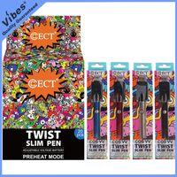 100% Оригинал ECT COS VV Батарея Twist Slim Pen 380mAh Предварительно нагрев Vape Батареи 510 Резьба Переменная Напряжение Batt Fit Tko Картриджи