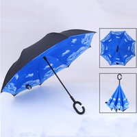 Creative-Reverse-Folding Inverted Regenschirme Double Layer mit C Griff Inside Out Reverse-windundurchlässige Regenschirm Sunny Rainy Regenschirm VT0387