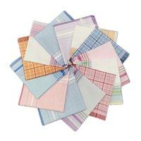 Moda Retro lenço da manta da listra Jacquard Praça Shaped portátil de bolso guardanapo impresso Kerchief Para Homens Mulheres 28 * 28 cm 2ys E19