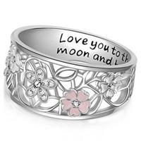Bague Sakura en diamant époxy créatif Je t'aime à la lune et au dos bague femme princesse