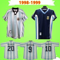 Argentina 1998 1999 Retro Jersey Jersey Home Away Vintage Comemorar Coleção Antiga 98 99 Camisa de Futebol Batistuta Ortega Veron