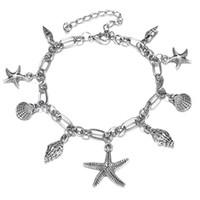 Cavigliere ciondolo conchiglia di stelle marine bohemien per donna Bracciali alla caviglia conchiglia color argento di moda sulla gamba Accessori da spiaggia Boho