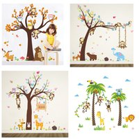 Retail 5 styles Kids monkey wall stickers for nursery Childr...