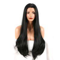Длинные шелковые прямые кружева передние синтетические парики для женщин черный цвет термостойкие волокон волос модные парики