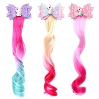 infantis grampos de cabelo Unicorn Gradiente peruca Laço de Cabelo Top cortar as asas do bebê Princesa do Flash Acessórios de cabelo longa peruca Barrettes 4 cores