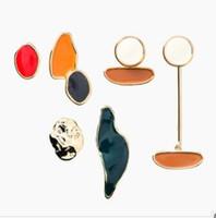 Tasarım Vintage Renkli Emaye Düzensiz Geometrik Asimetrik Oval Yuvarlak Uzun Saplama Küpe Kadınlar Kız Jewerly Hediyeler için 1024