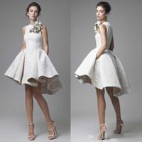 2019 Alto Bajo vestidos de novia Krikor joya de Jabot sin mangas de encaje vestidos de novia cortos una línea de playa vestidos de novia con flores