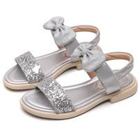 9545e6855e608 New Arrival. Girls sandals shining kids rhinestones princess shoes children  Bows applique genuine leather ...