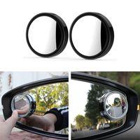 2pcs del coche de 360 grados de ángulo muerto del espejo del espejo gran angular espejo convexo redondo pequeño punto ciego lateral Ronda retrovisor Aparcamiento