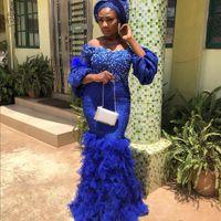 Aso Ebi azul real 2020 árabe azul real de la sirena del vestido de noche del hombro granos del cordón hinchada de manga larga vestidos de baile Vestido Abendkleider