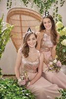 2018 New Sexy Rose Gold Draweres Vestidos Uma Linha Espaguete Lantejoulas Backless Chiffon Barato Long Beach Casamento Casamento Vestido Doméstica de Honra