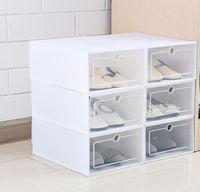 6 Adet / takım Kalınlaşmış çevirme ayakkabı şeffaf Çekmece Durumda Plastik Ayakkabı Kutuları Istiflenebilir Kutu saklama kutusu ayakkabı depolama organizatör