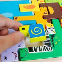 Creative Animal Edificio Jigsaw Puzzle Juguete de madera para niños Edificio Estereoscópico Educativo Jigsaw Craft Animals Juego de niños Juguete