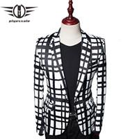 Plyesxale 2018 Giacca da giacca scozzese bianca nera autunnale Blazer da uomo unici Casual Slim Fit Uomo Prom Party Blazer Masculino Q478