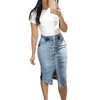Юбки 2021 джинсовая юбка мода Vintga джинсы женщина летом Furcal карандаш черный серый повседневная улица носить MIDI 3XL XXL XL