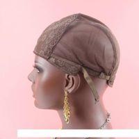 Brown juive couleur Cap perruque de H pour la fabrication de perruques réglable Sangle de tissage Cap Fondation intérieur intérieur Extension de cheveux Trame Weave Diy