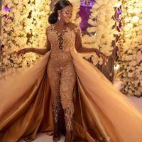2019 clássico jumpsuits vestidos de baile com trem destacável mangas compridas rendas apliques appliqued vestidos de noite luxo festa africana feminina fatos de calça feminina