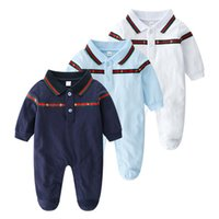 Retail Newborn Baby lapel Embroidery Cotton Romper 0- 1Y Romp...