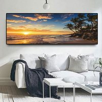 Mer Plage naturelle Couchers de soleil Cocotier Paysage Wall Art Photos Peinture murale Art pour Salon Home Decor (No Frame)